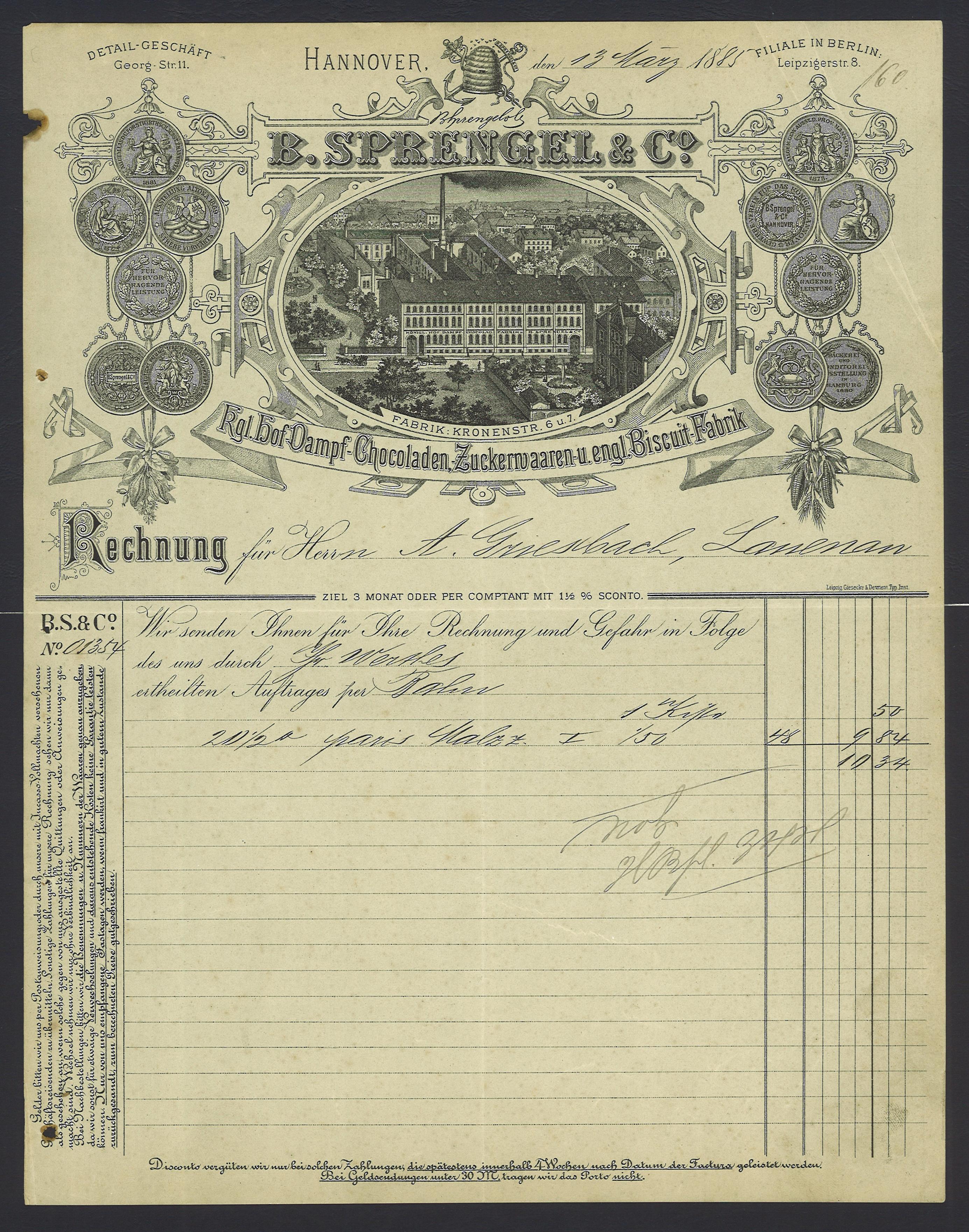 Dateib Sprengel Co 1885 03 13 Hannover Kronenstraße 6 7