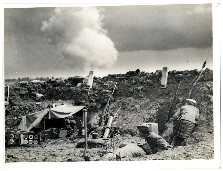 File:Bomb Gun Section. Shell bursting in front of trench St Floris, France (Photo 24-42).jpg