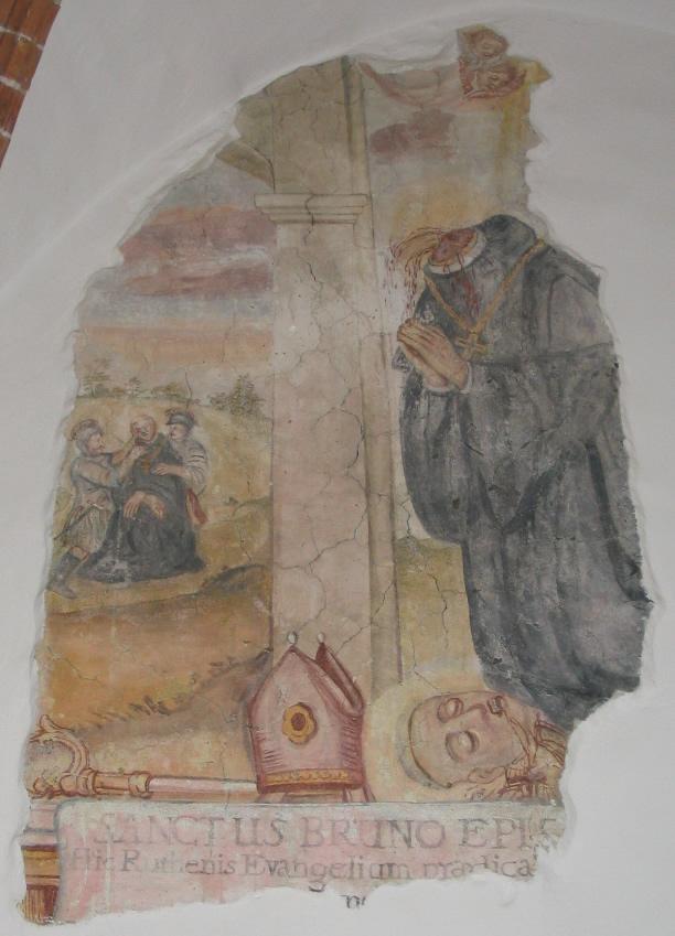 Bruno av Querfurt etter halshoggingen, freske fra klosteret Święty Krzyż (Det hellige kors) i Polen)