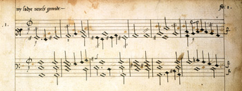 Excerpt from a keyboard work by William Byrd written on a six-line staff, 1591 Byrd manuscript sample.jpg