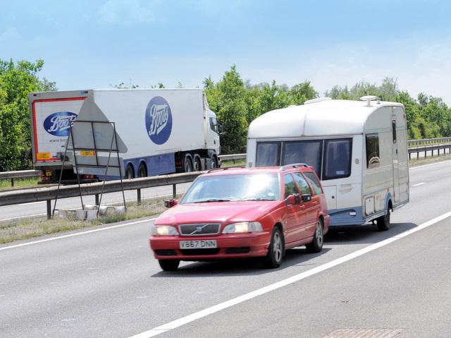 File Car And Caravan On M42 Motorway Geograph Org Uk 1366389