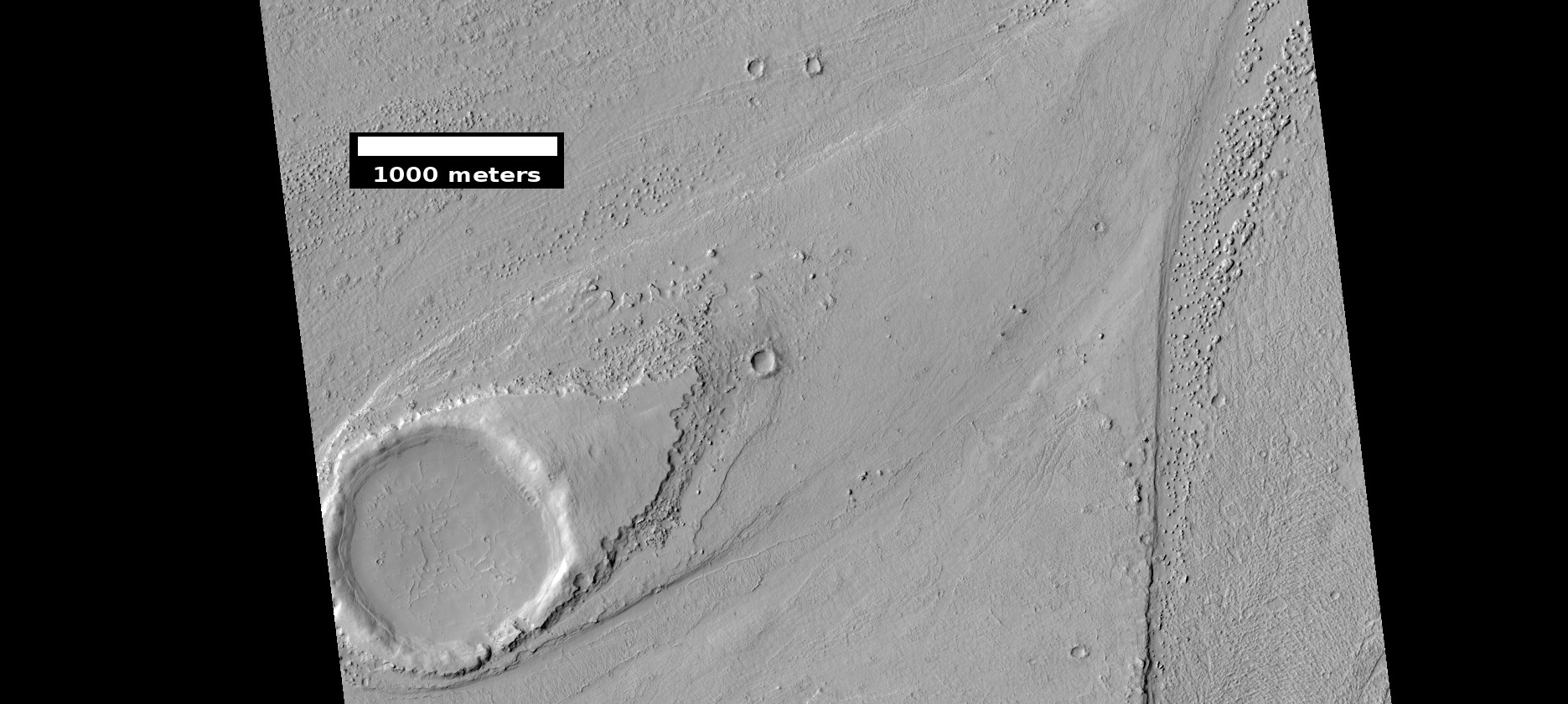 Streamlined shape showing layers, as seen by HiRISE under HiWish program