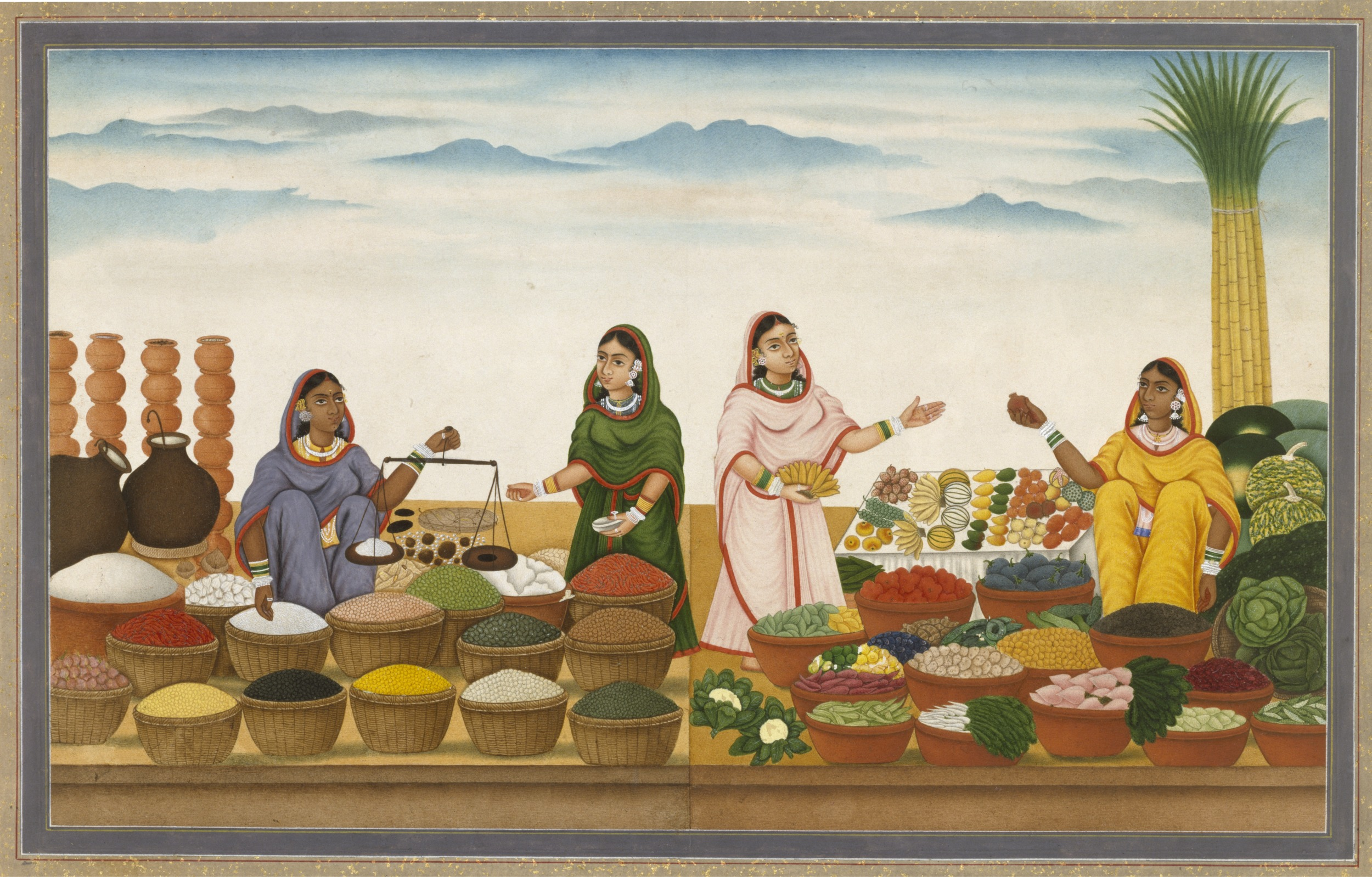 File Four Women Selling Food Grains Vegetables And Fruit