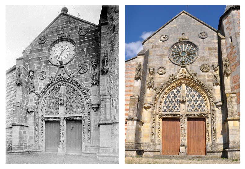 Main entrance in the western façade of the 15th century Our Lady (Notre Dame) church in Villers-en-Argonne (canton Sainte-Menehould, Marne department, Champagne-Ardenne region, France), pictured in 1915 and 2012.