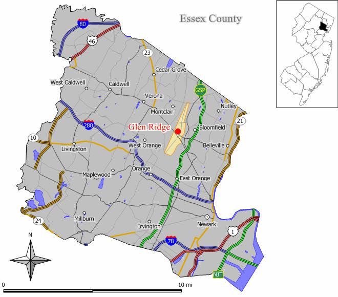 Map of Glen Ridge in Essexglen ridge borough