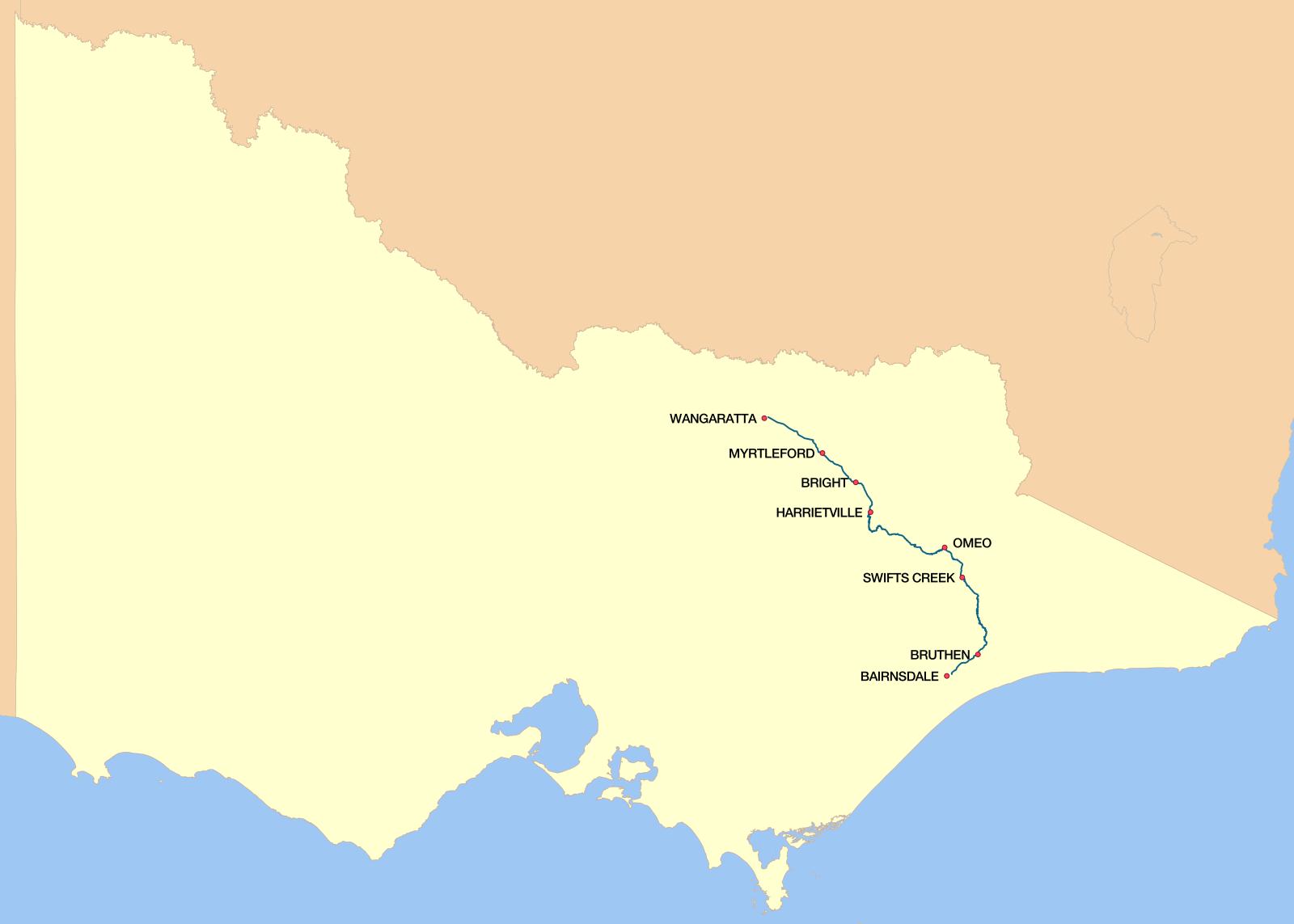 Road Map Victoria Australia.Great Alpine Road Wikipedia