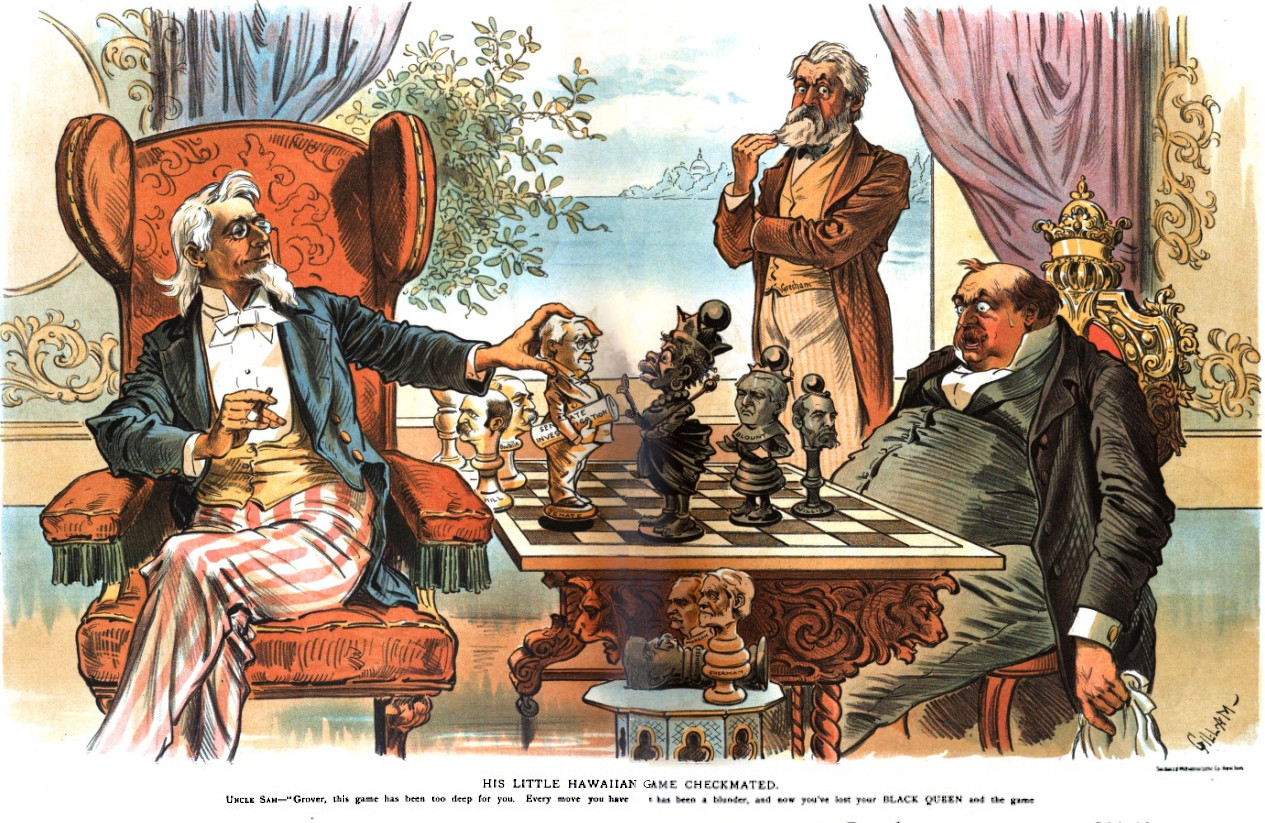 File:His Little Hawaiian Game Checkmated political cartoon