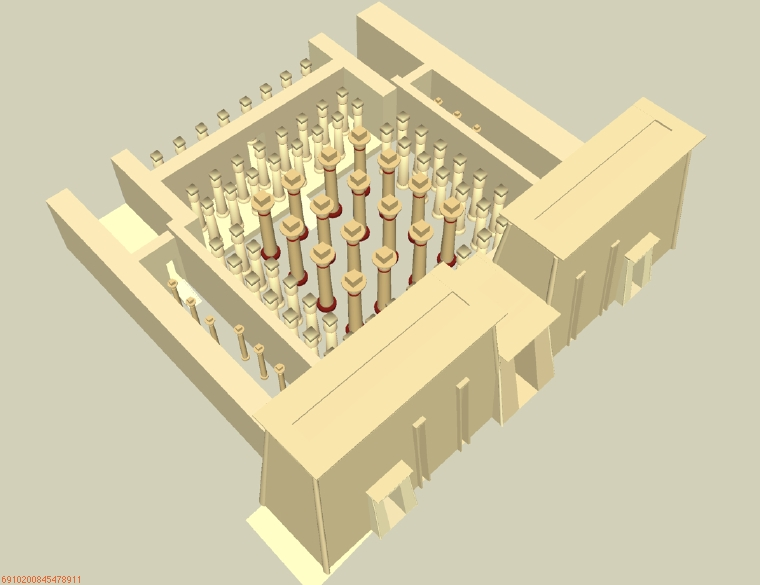 Restoration of the hypostyle hall of the great temple of Ptah at Memphis.