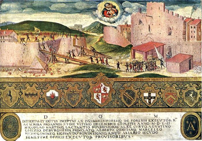 I senesi demoliscono la fortezza degli spagnoli 1552