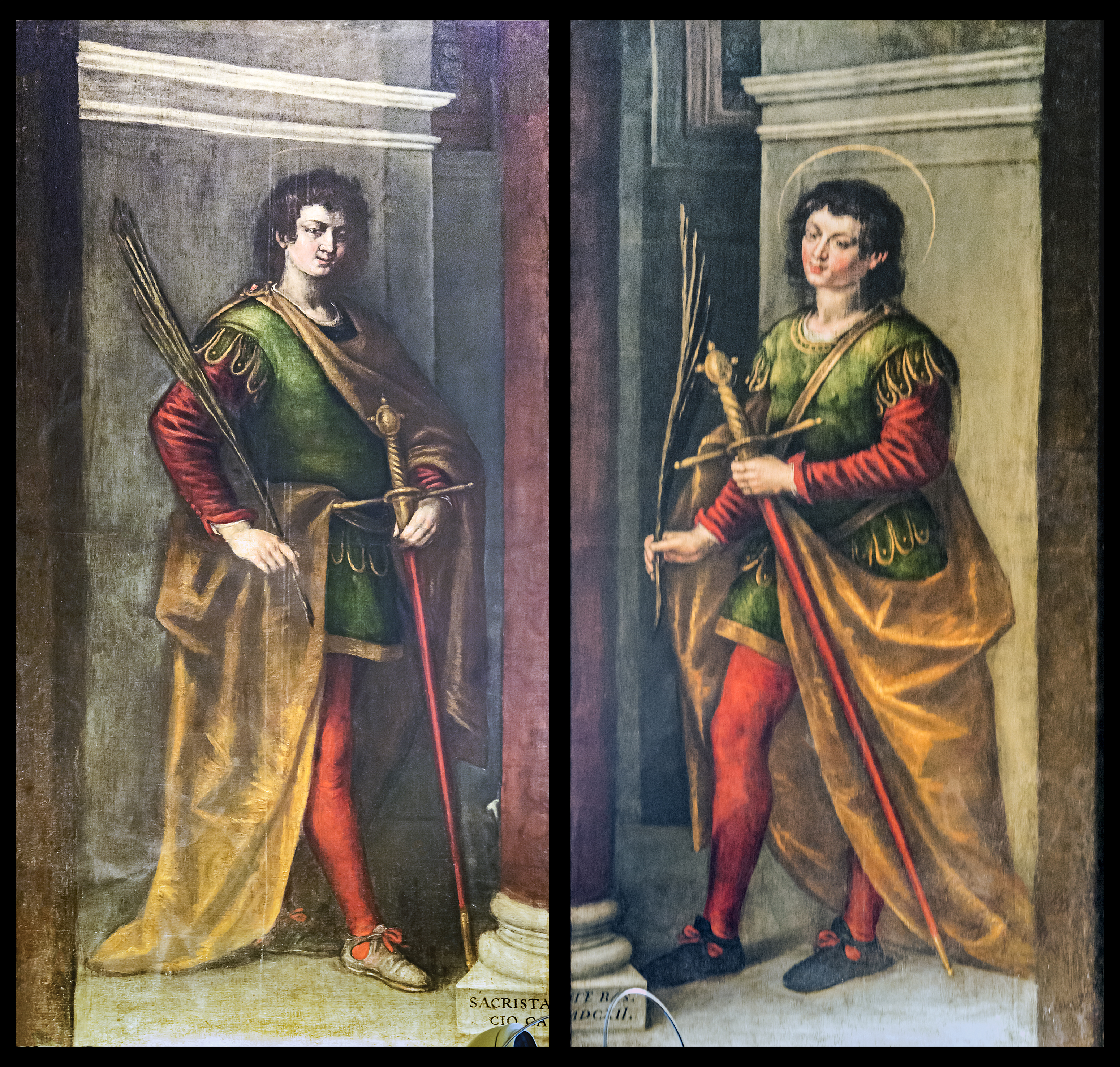 Sacristy - Santi Giovanni e Paolo (Venice) - Two paintings by Pietro Mera representing Saint John and Saint Paul to whom the basilica is dedicated.