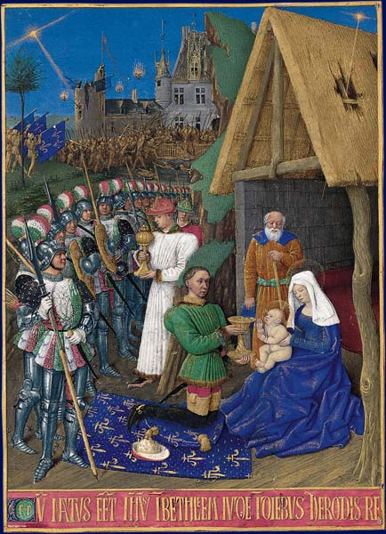 Adoration of the Magi, by Jean Fouquet (15th century). The Star of Bethlehem can be seen in the top right. The soldiers and castle in the background may represent the Battle of Castillon (1453). L Adoration des Mages.jpg