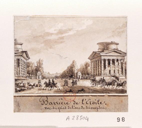 Fichier:La barrière de l'Étoile vue du pied de l'Arc de Triomphe, par Christophe Civeton (1796-1831).jpeg