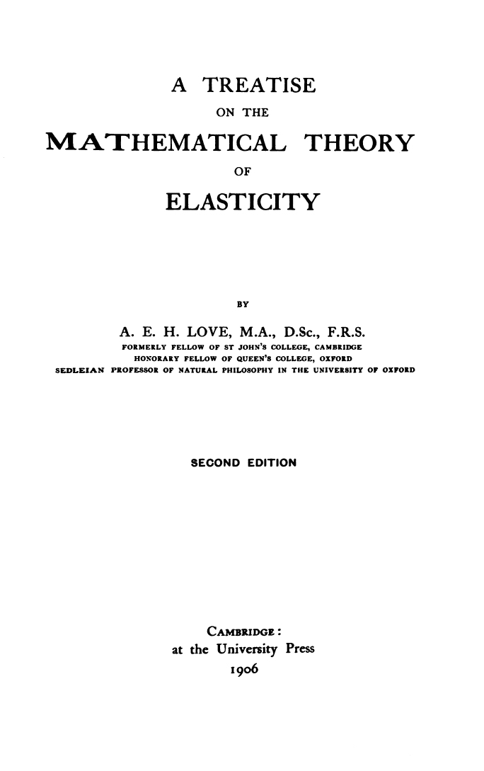 A Treatise on the Mathematical Theory of Elasticity - Wikiquote