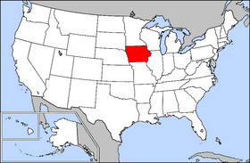 Map of the United States with Iowa highlighted