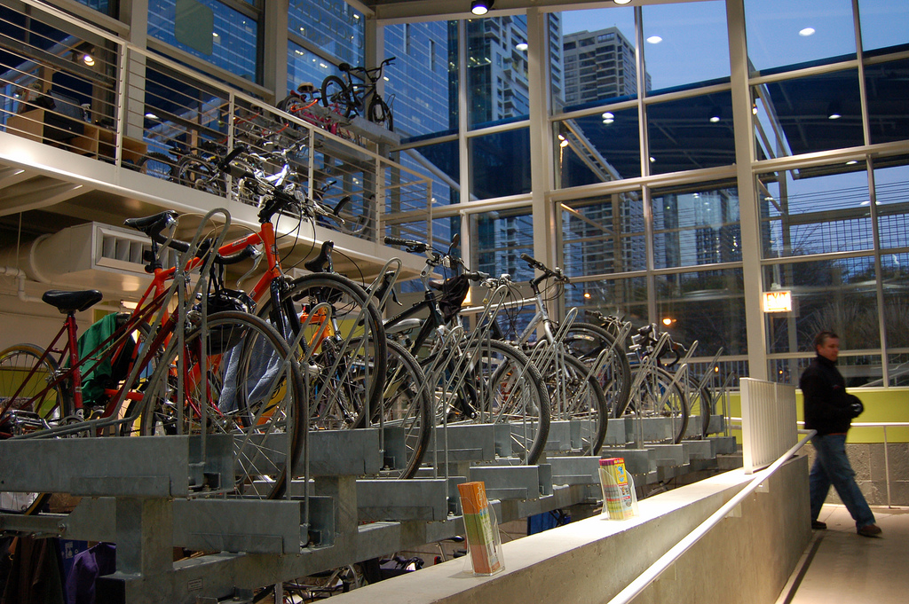 Bikes Center Side view of bikes parked in