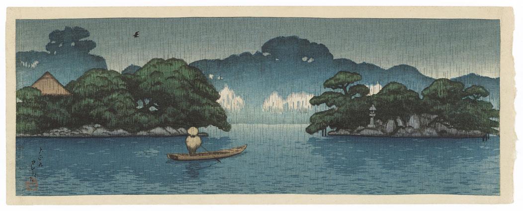 Mitsubishi Fukagawa bettei no zu, harusame no kobune by Kawase Hasui.jpg