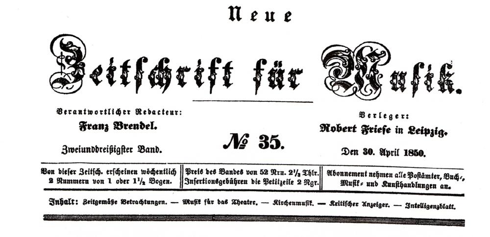 Parte de la página frontal de la Neue Zeitschrift für Musik, ejemplar del 30 de abril de 1850.