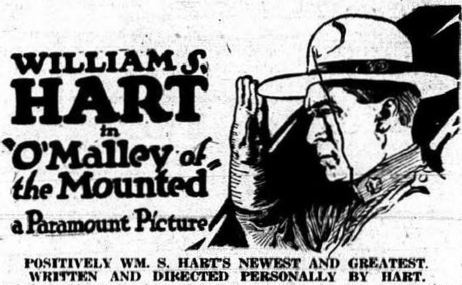 Newspaper ad for a 1921 movie about Mounties