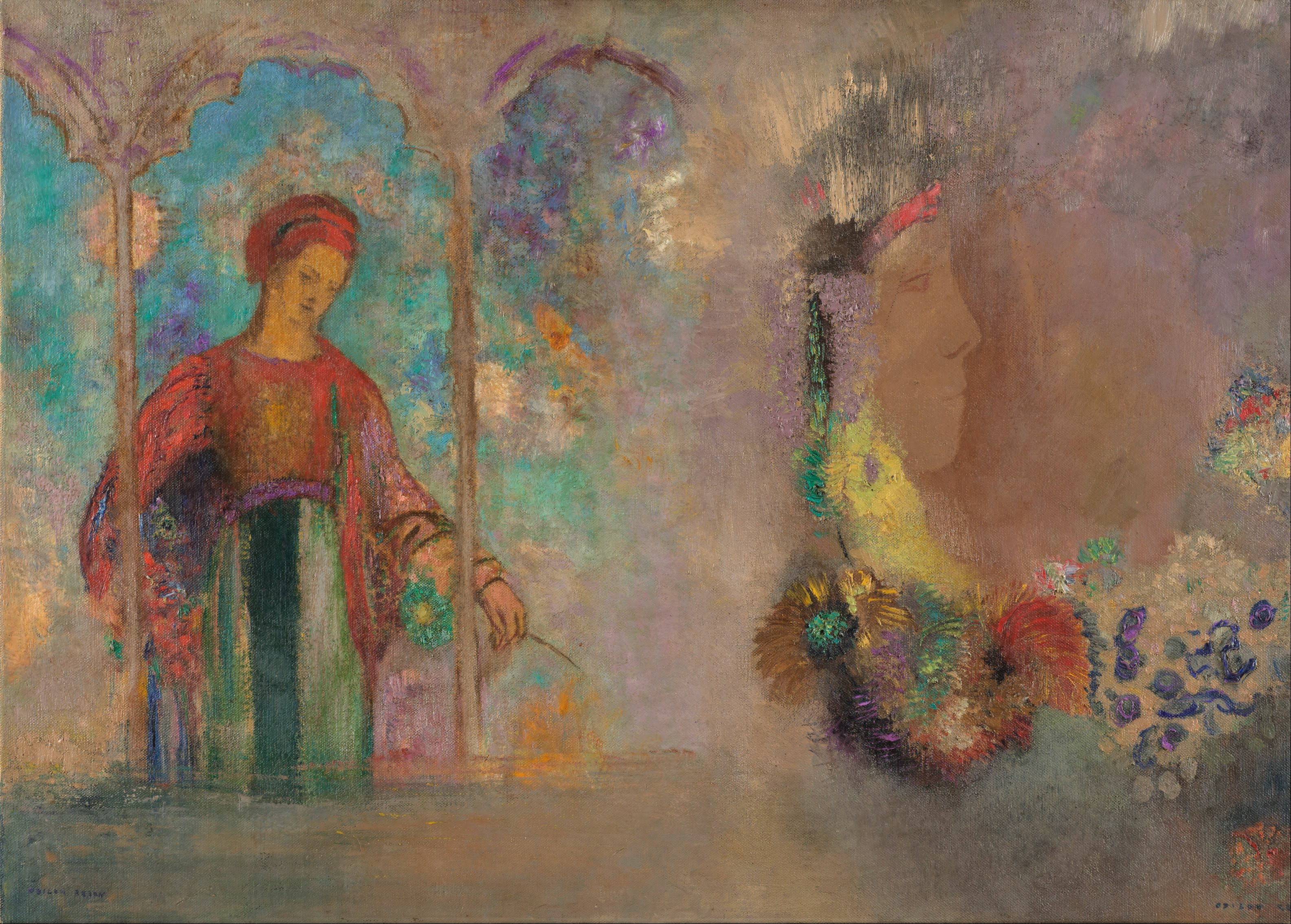 File:Odilon Redon - Woman in a gothic arcade- woman with flowers ...