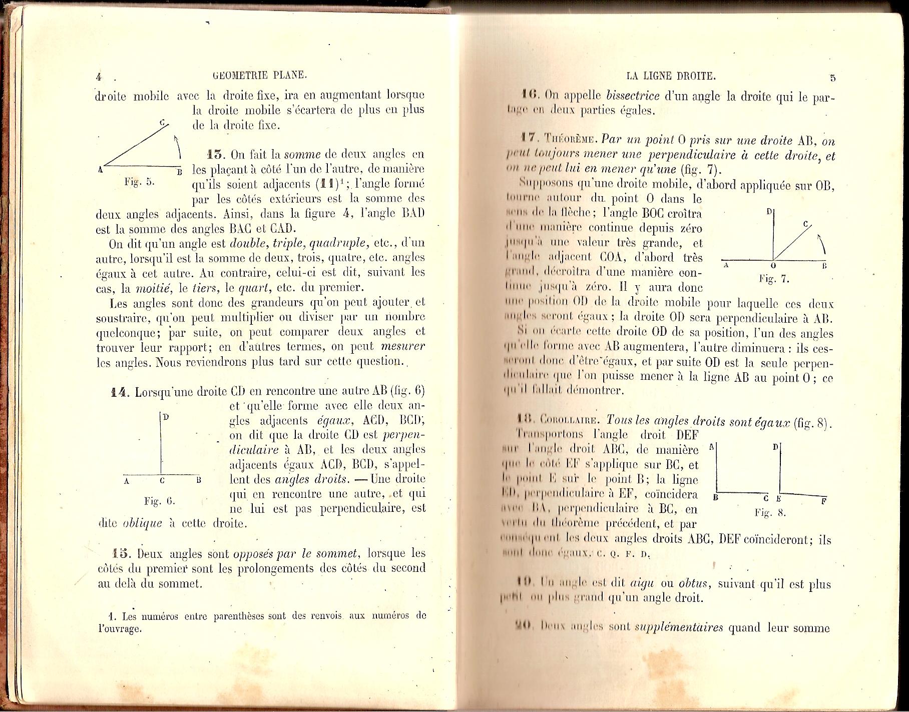 Scan des pages 4 et 5 d'un manuel de géométrie de 1900