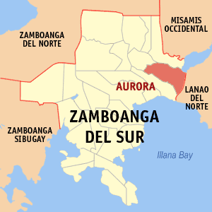 Map of Zamboanga del Sur showing the location of Aurora