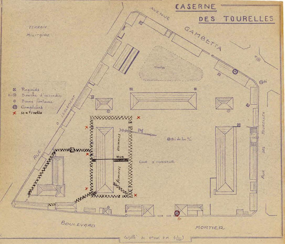 File plan de la caserne des tourelles camp d internement for Direction generale de la securite exterieur