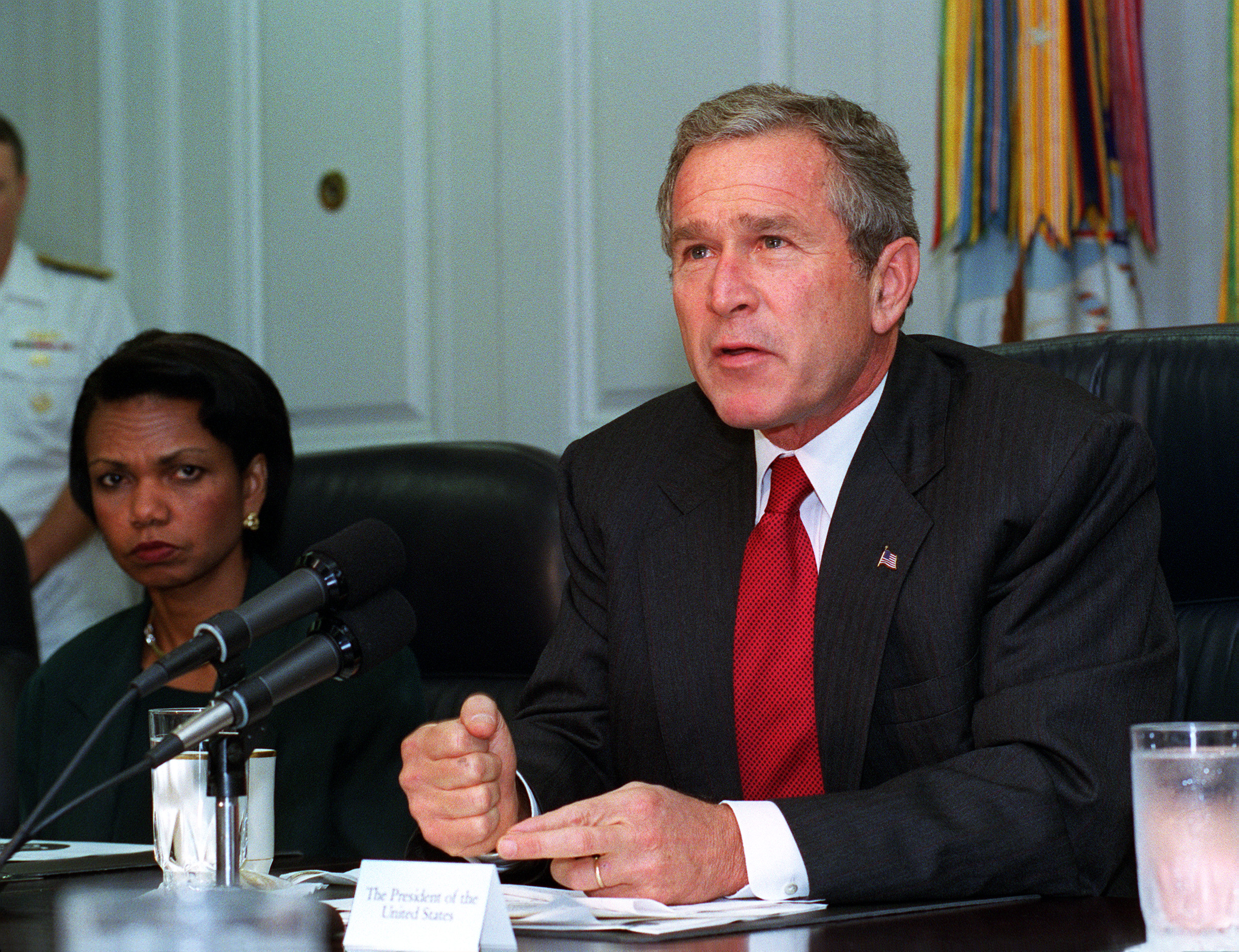 President George W. Bush addresses the media at the Pentagon on Sept. 17, 2001.jpg