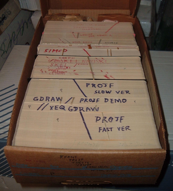 boxofpunchedcardswithseveralprogramdecks.