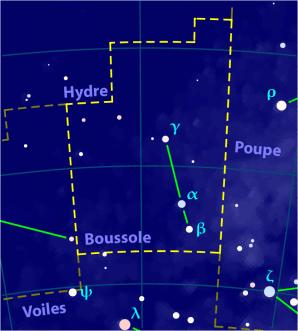 Carte pour la constellation Boussole Produite à l'aide du logiciel PP3 - Orthogaffe / Korrigan - Wikimedia Commons