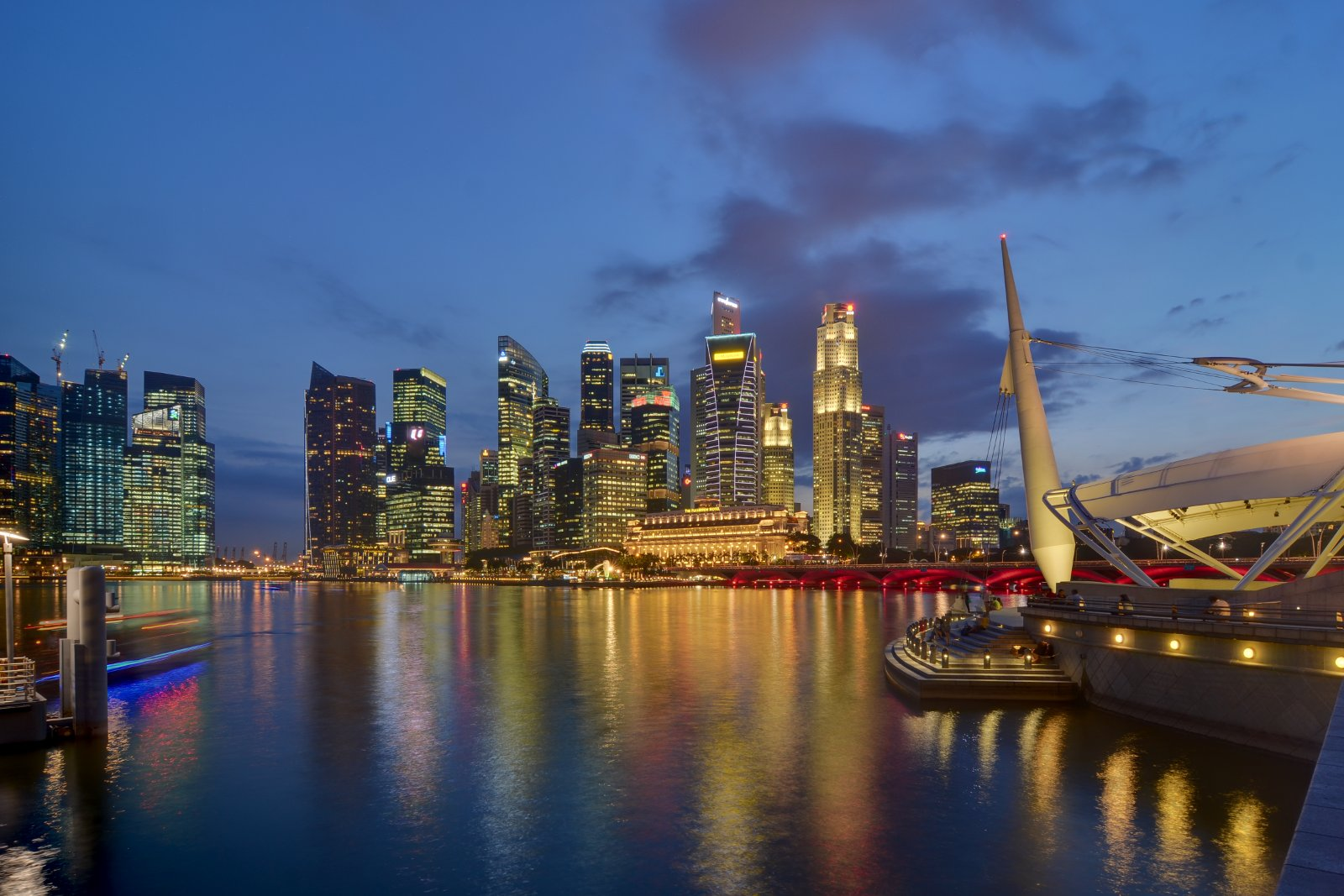 Singapore Singapore  city photos : Description Singapore CBD skyline from Esplanade at dusk