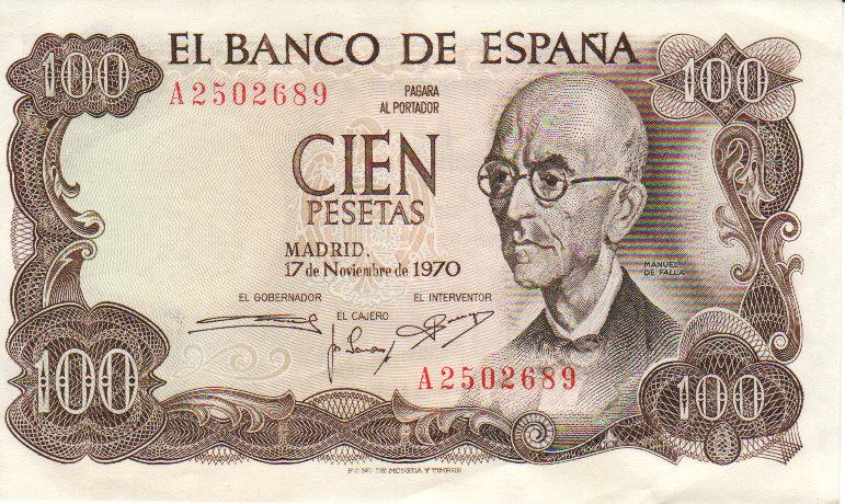 Billete de 100 pesetas, en homenaje a Manuel de Falla.