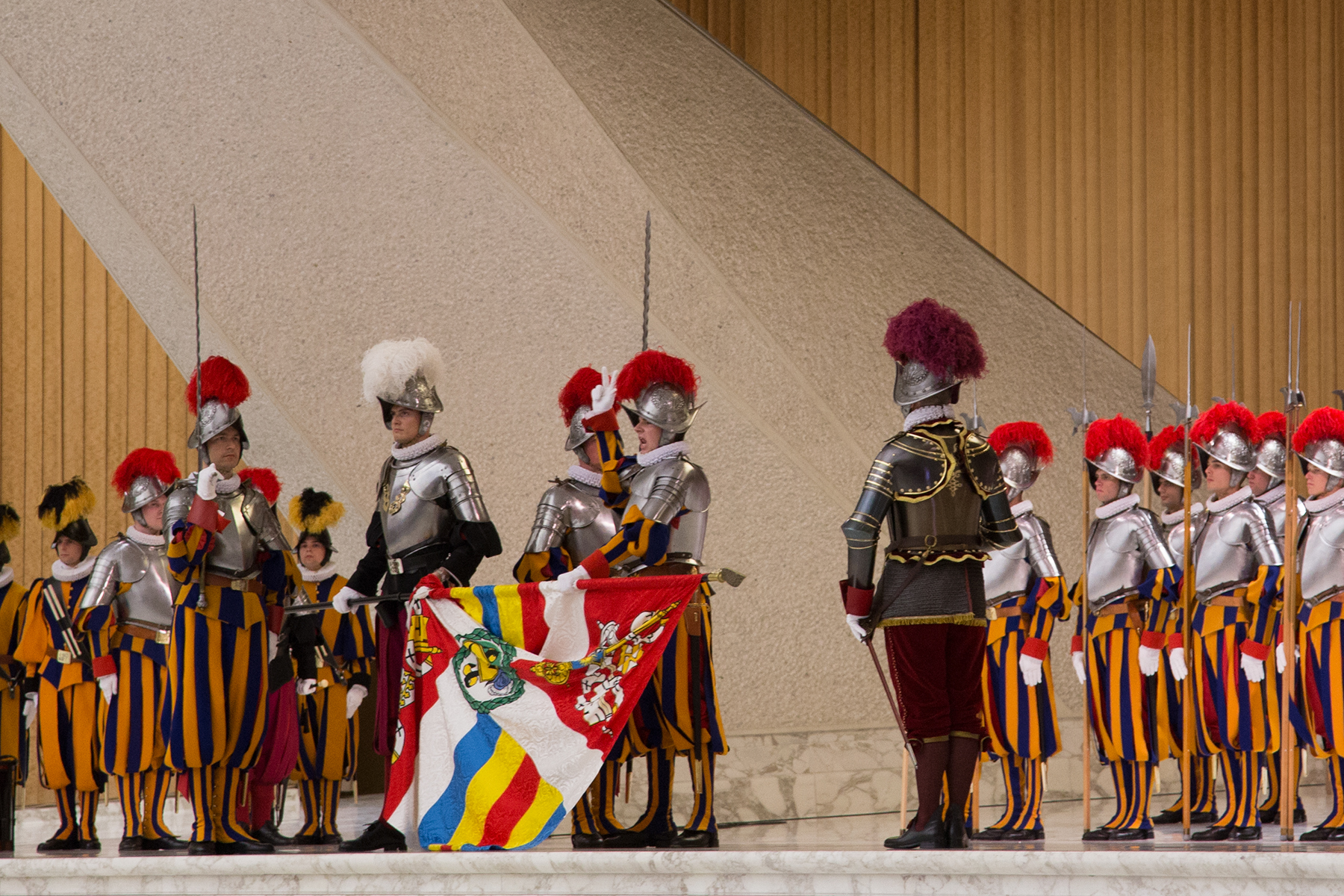 Pontifical Swiss Guard swearing-in ceremony at the Paul VI Audience Hall, Vatican City.