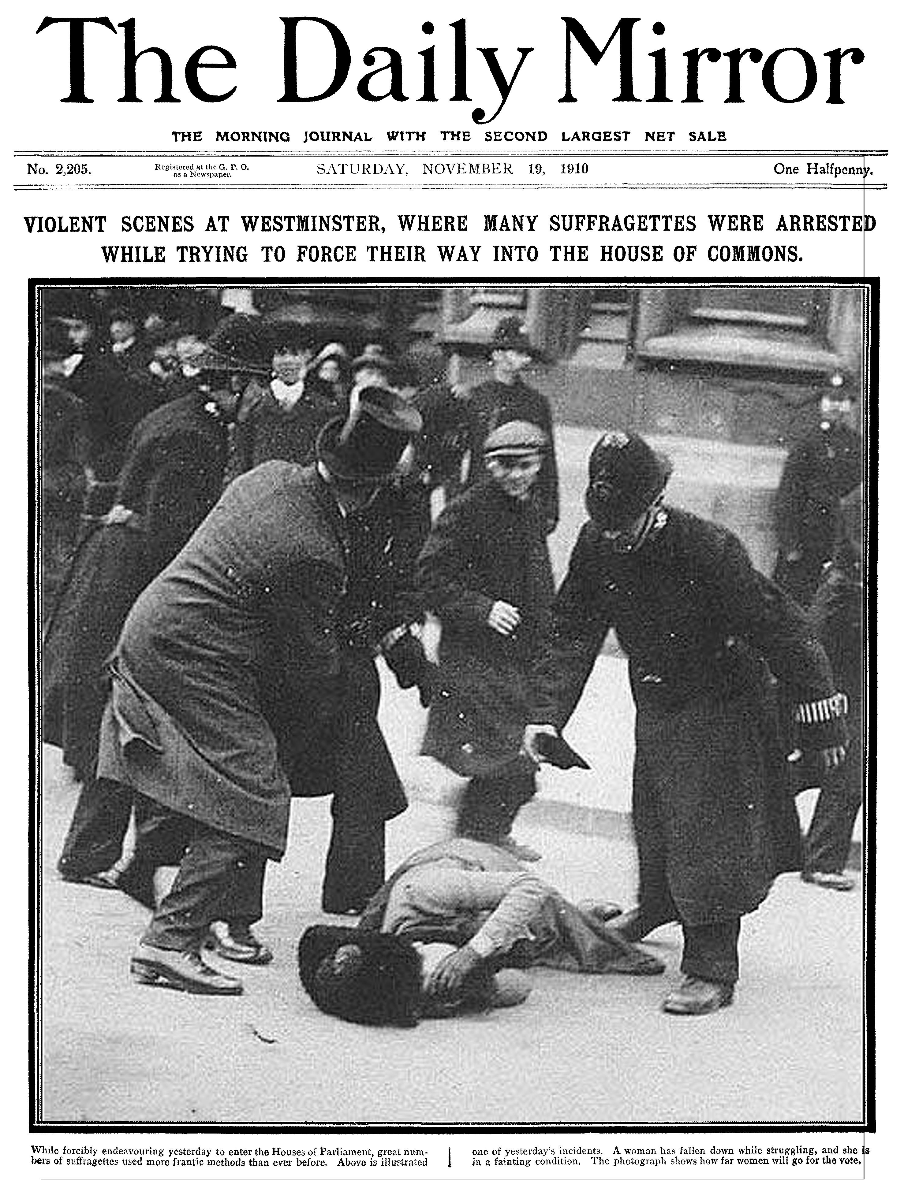 記者描述大規模粗暴地逮捕主張婦女參政權的女子,宛如「教訓淘氣的小貓」。