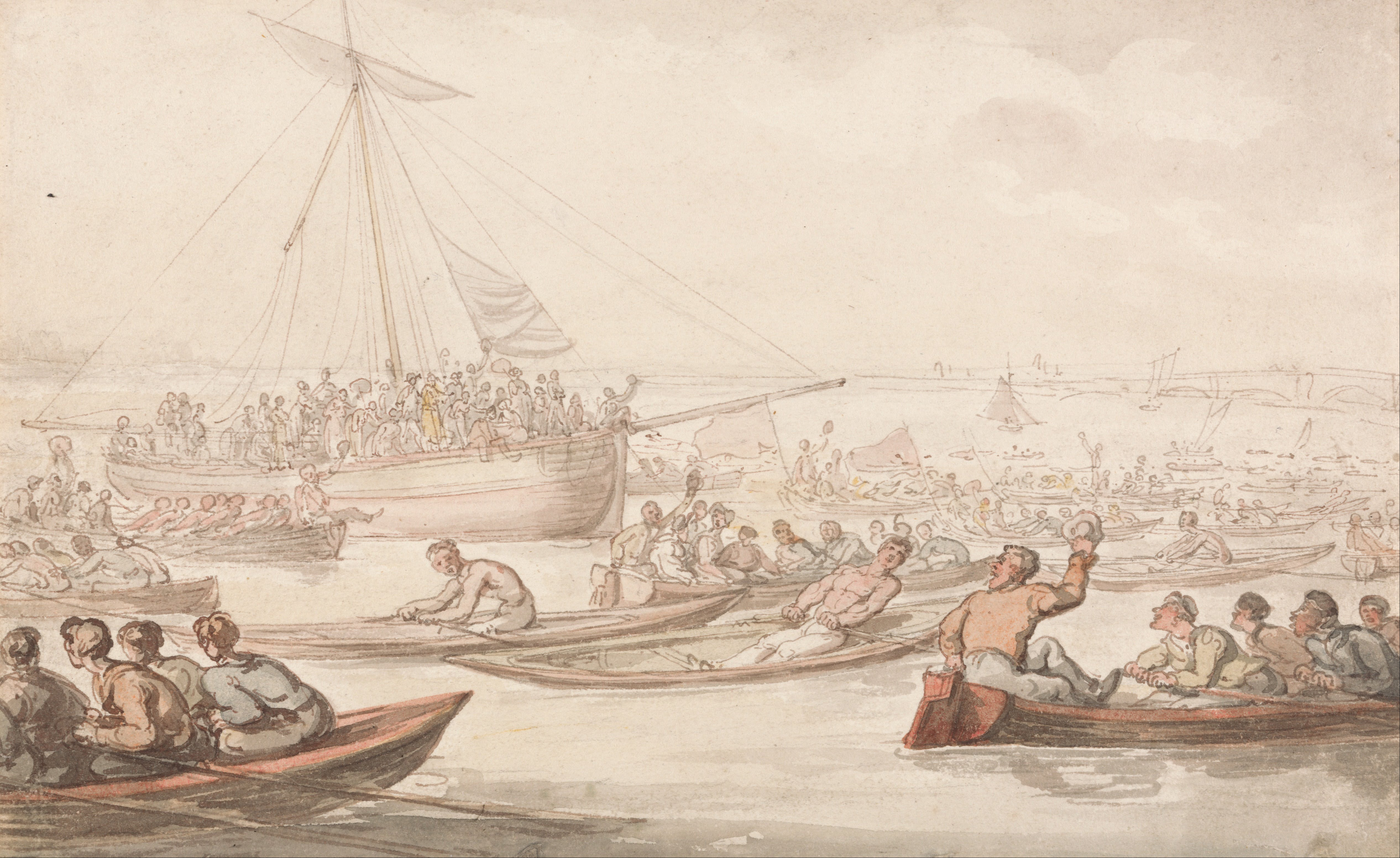 http://upload.wikimedia.org/wikipedia/commons/8/86/Thomas_Rowlandson_-_The_Annual_Sculling_Race_for_Doggett%27s_Coat_and_Badge_-_Google_Art_Project.jpg