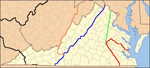 Lines showing the legal treaty frontiers between the Virginia Colony and Indian Nations in various years, as well as today's state boundaries. Red: Treaty of 1646. Green: Treaty of Albany (1684). Blue: Treaty of Albany (1722). Orange: Proclamation of 1763. Black: Treaty of Camp Charlotte (1774). Area west of this line in present-day Southwest Virginia was ceded by the Cherokee in 1775. VaFrontier2.jpg