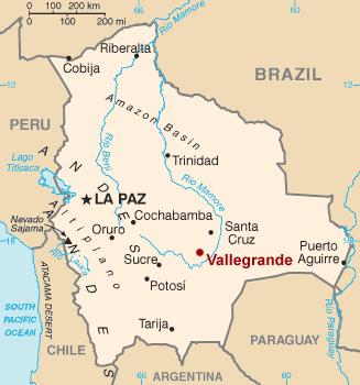 Расположение провинции Вальегранде в Боливии