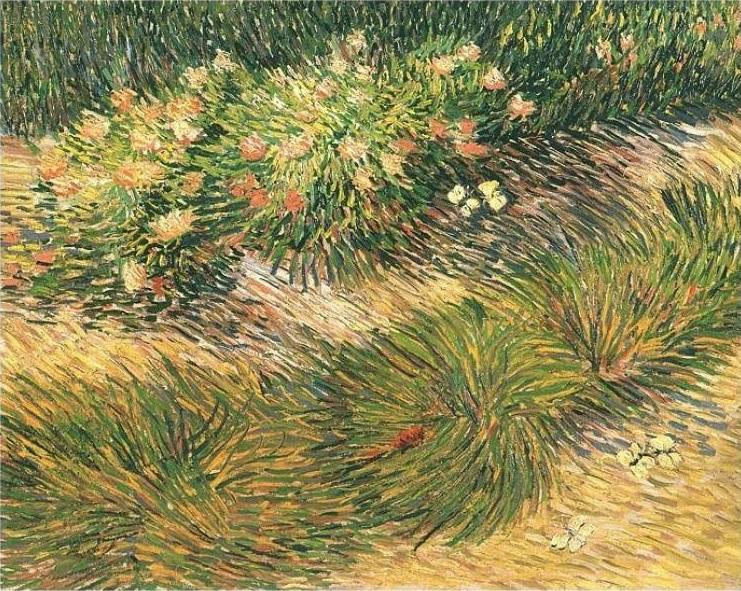 Van Gogh - Rasenstück mit Schmetterlingen
