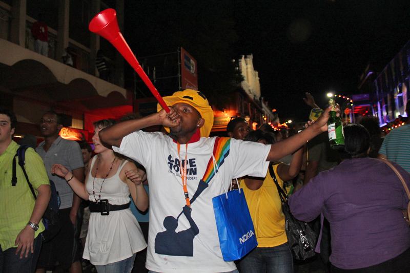 Vuvuzela blower, Final Draw, FIFA 2010 World Cup.jpg