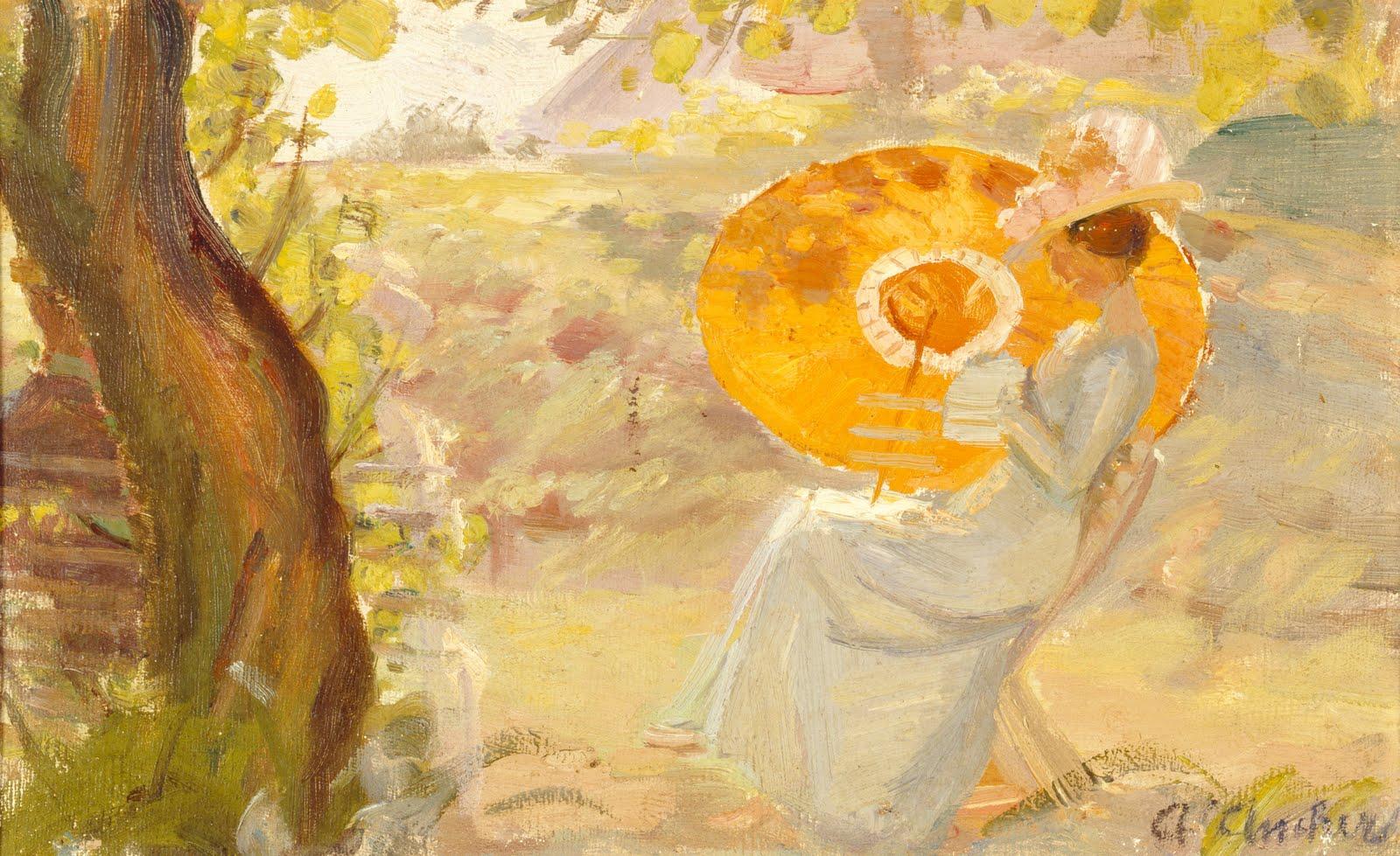 fileyoung girl in a garden with orange umbrella anna ancherjpg - The Girls In The Garden