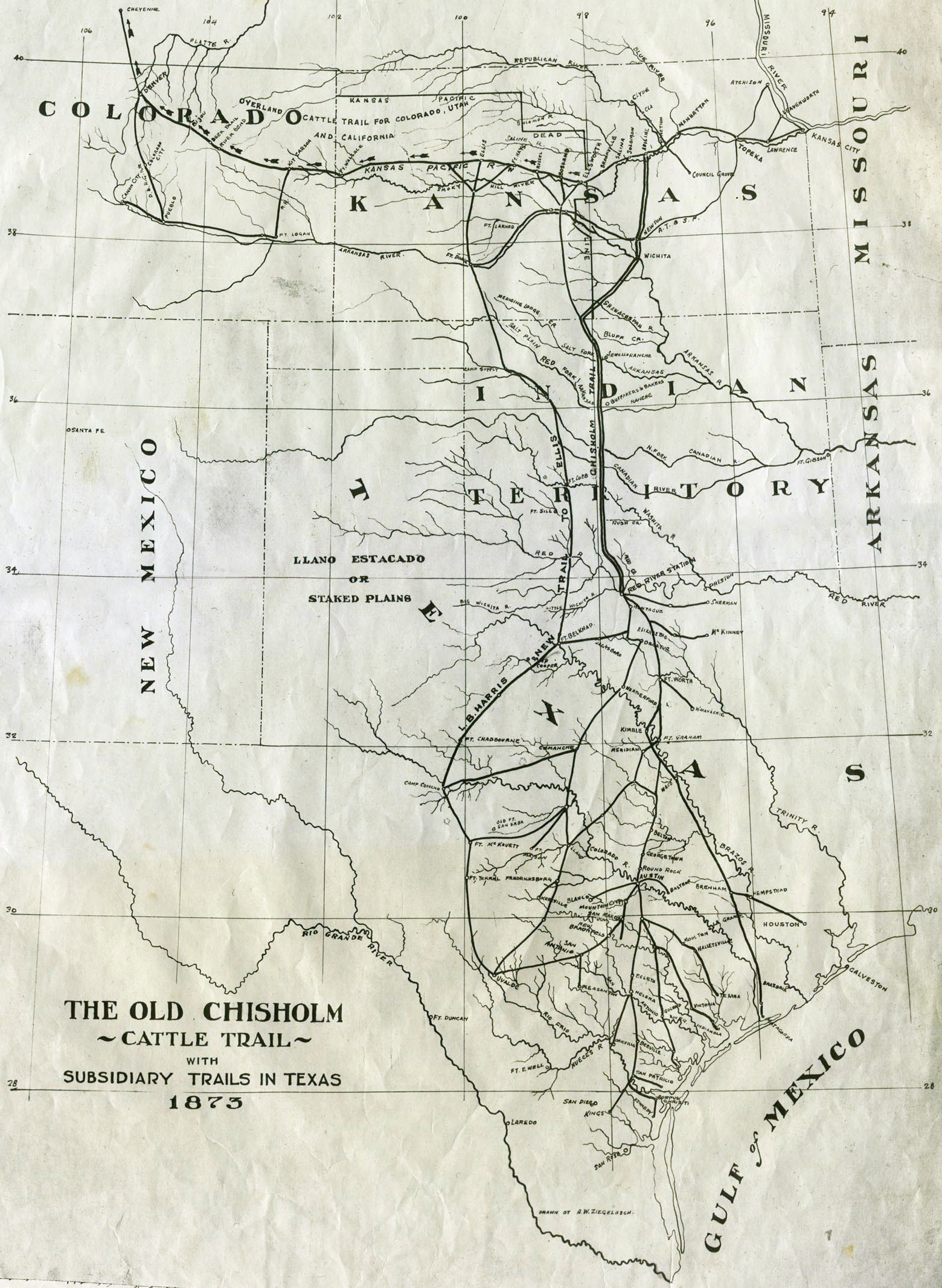 file 1873 map of chisholm trail with subsidiary trails in texas jpg