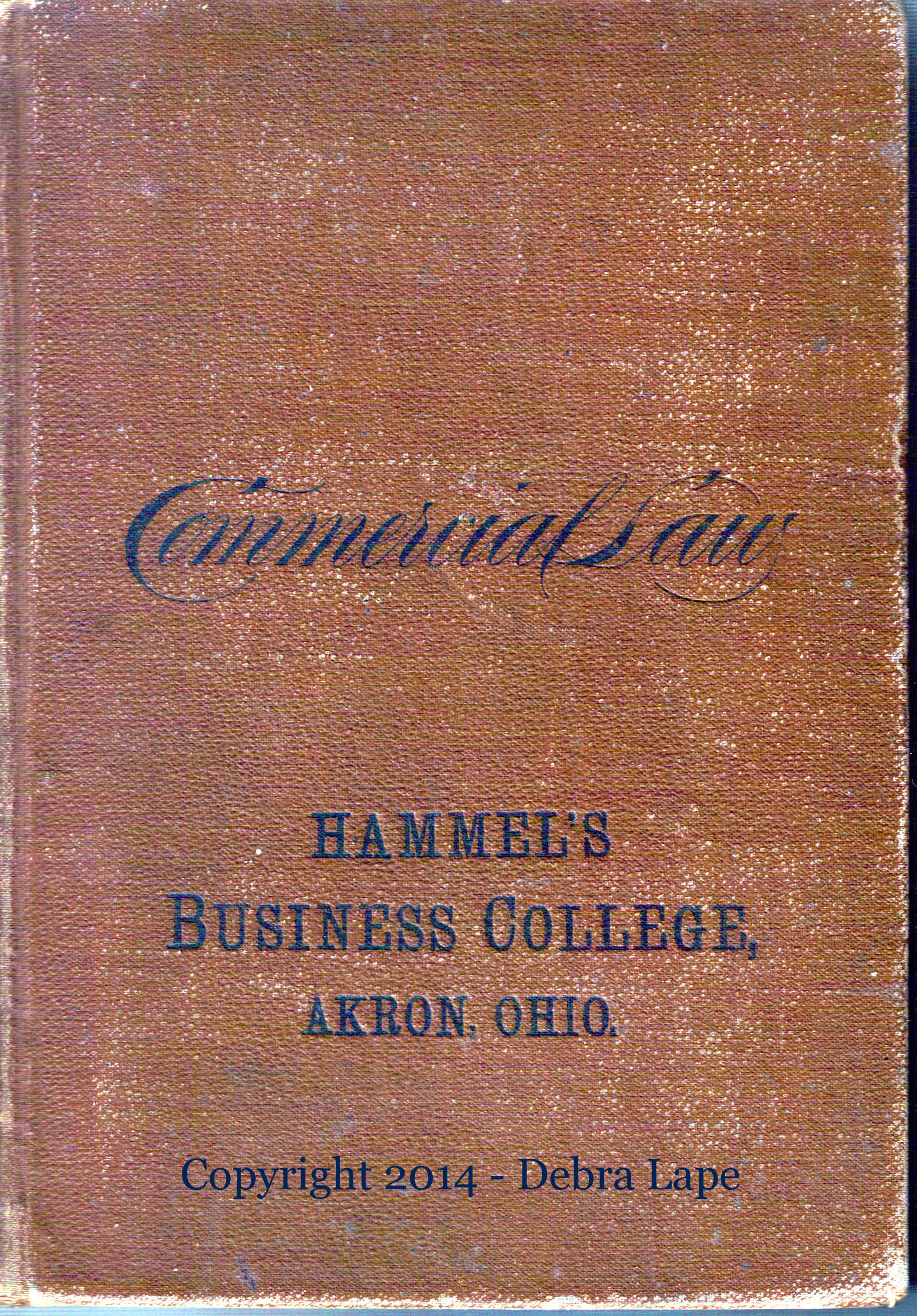 Lizzie\u0027s son Arville Lape\u0027s Commercial Law textbook while he attended Hammel\u0027s Business College in Akron on
