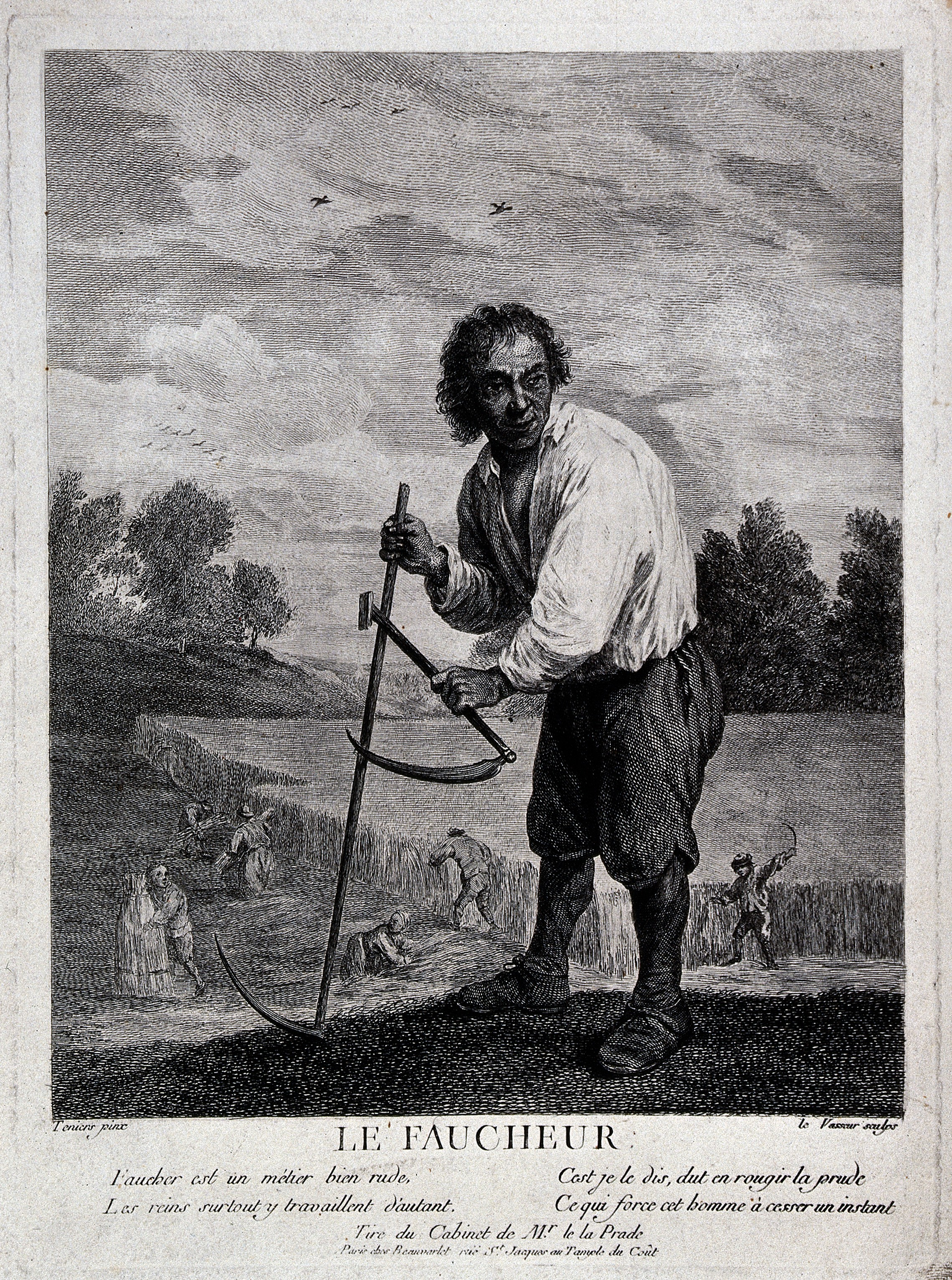 File:A corn-harvester, with a scythe and a sickle  Engraving