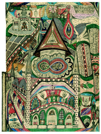 Adolf Wölfli Die Skt-Wandanna-Kathedrale in Band-Wand