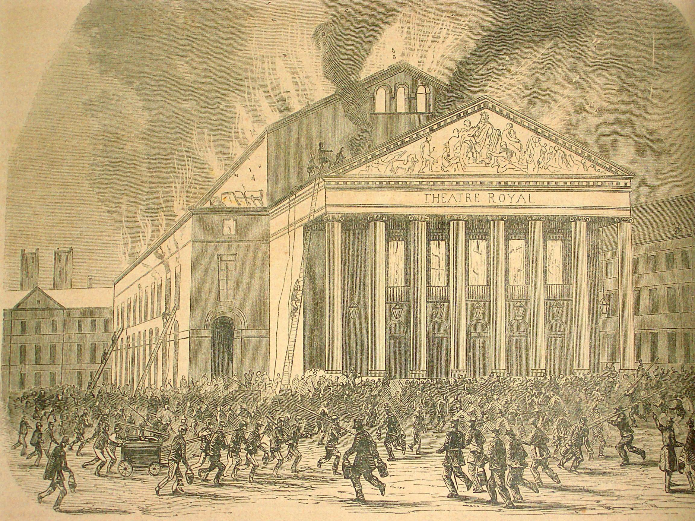 File:Anonimo Teatro de la Monnaie incendio del 1855 incisione  L'Illustration 1855 Parigi