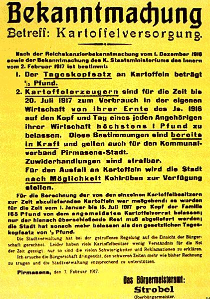 Bekanntmachung der Kartoffelrationierung Pirmasens 1917
