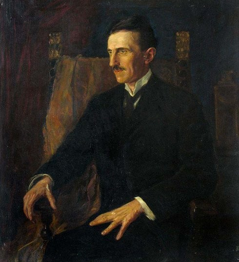Blue Portrait of Nikola Tesla, the only painting Tesla posed for.