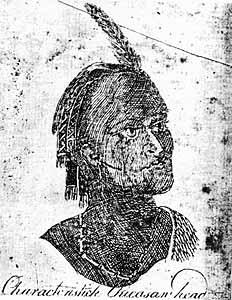 A sketch of a Chickasaw by Bernard Romans, 1775 Characteristic Chicasaw Head.jpg