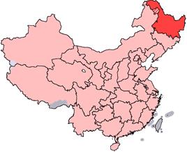 Heilongjiangs läge i Kina.