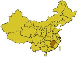 Localización de la provincia de Jiangxi.