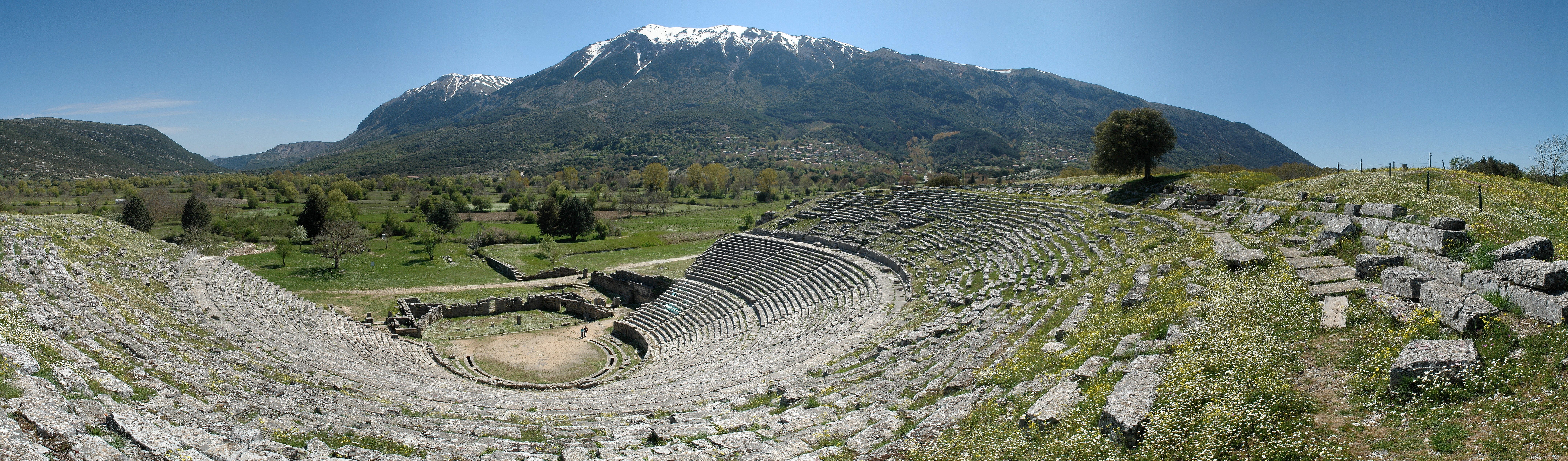 The ancient theater of Dodona, Epirus, Greece.  Photo on Wikimedia Commons by Onno Zweers